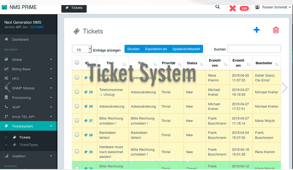 Ticket System Page in NMS Prime
