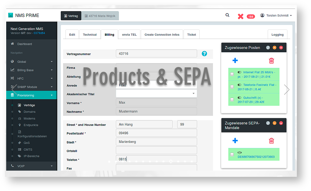 GUI for managing products