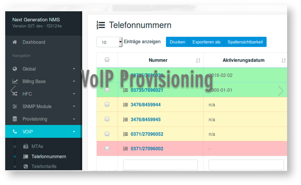Interface for Voice over IP Provisioning